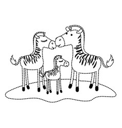 zebras couple and foal over grass in black dotted vector image