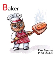 Alphabet professions Owl Baker character on a vector image vector image