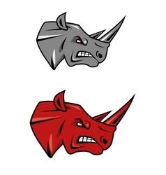 Angry rhino head mascot design vector image vector image