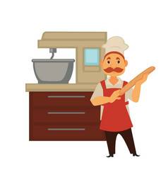 baker man in bakery shop baking bread or kneading vector image vector image
