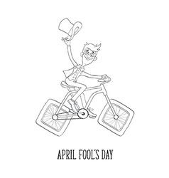 Cartoon man on bicycle vector