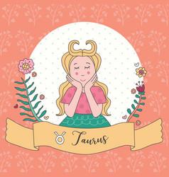 Cute horoscope zodiac girl taurus vector