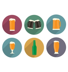 Flat beer icons with long shadow vector image vector image