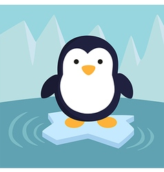 Penguin in ice theme background vector