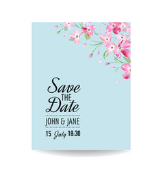wedding invitation spring cherry flowers vector image vector image