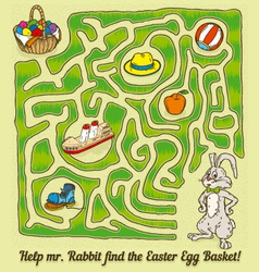 Easter Rabbit Maze Game vector image