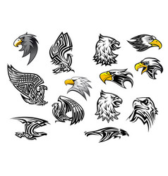 Icons eagle hawk bird for mascot or tattoo vector