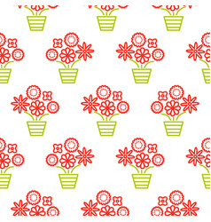 outline red and green flowers in pots seamless vector image