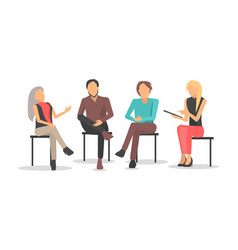 people at business training sit and discuss issues vector image vector image
