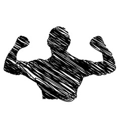 silhouette drawing half body muscle man fitness vector image
