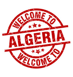welcome to algeria red stamp vector image vector image