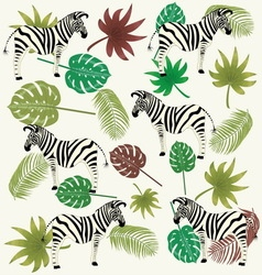 zebra and tropical leaves vector image