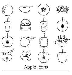 apple theme black simple outline icons set eps10 vector image vector image