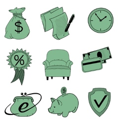 Doodle banking icons vector image
