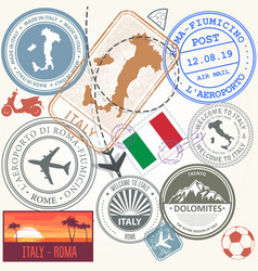 travel stamps set - italy and rome journey symbols vector image vector image