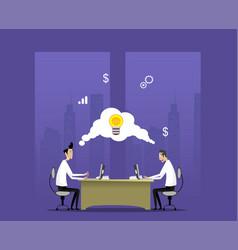 Two businessmen work in night office vector
