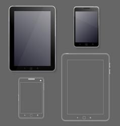 Black tabet and phone ui web design template vector