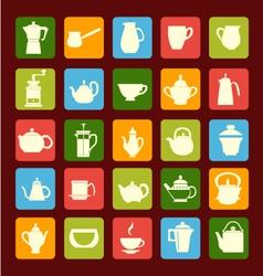 flat coffee tea set Coffee and tea time vector image