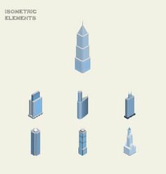 Isometric skyscraper set of exterior cityscape vector
