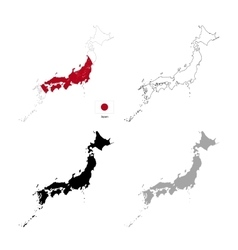 Japan country black silhouette and with flag on vector image