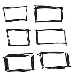 Set hand drawn rectangle vector