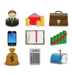 Set of bright business and financial icons vector image vector image