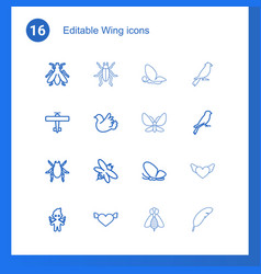 16 wing icons vector image