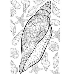 Adult coloring bookpage a cute shell image vector