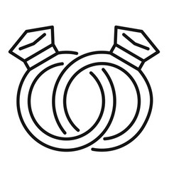 Affection diamond rings icon outline style vector