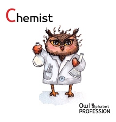 Alphabet professions owl chemist character on a vector
