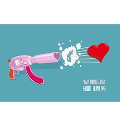 Arms of love Gun shoots hearts Valentines day Good vector image