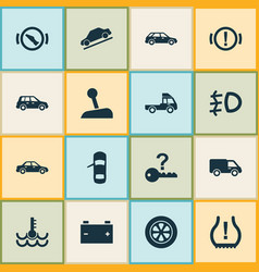 Automobile icons set with stop station wagon vector