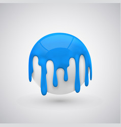 Ball with paint drops blue vector