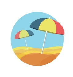 Beach umbrellas on a deserted beach vector
