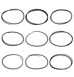 black and drawn scribble circles marker elements vector image