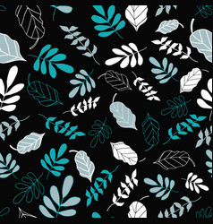 Black tossed floral and leaves mix pattern vector