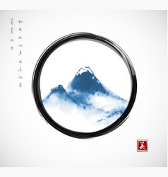 Blue mountains hand drawn with ink in black enso vector
