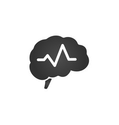 brain with pulse symbol design isolated on white vector image