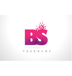 Bs b s letter logo with pink purple color vector