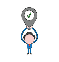 businessman character holding up map pointer with vector image