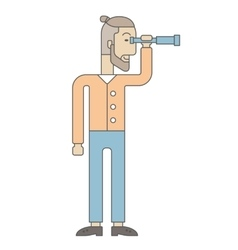 Businessman using binocular vector