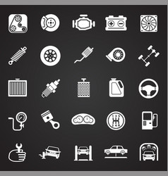 car parts and repair set on black background for vector image