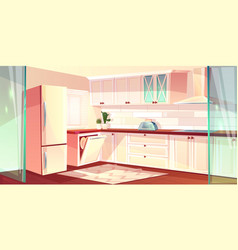 Cartoon bright kitchen in pink colors vector