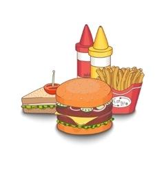 Cartoon fast-food meal vector