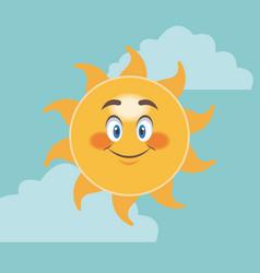 cheerful cartoon sun smile facial expression image vector image
