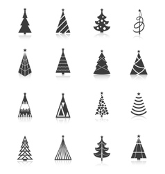 Christmas tree icons black vector image