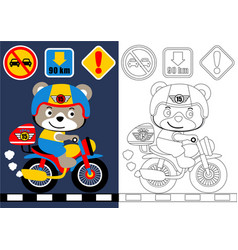 coloring book or page with bear on motorcycle vector image