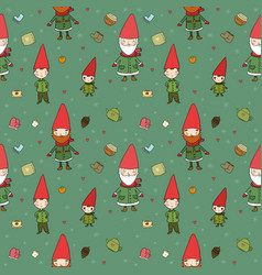 cute cartoon gnomes new year s pattern christmas vector image