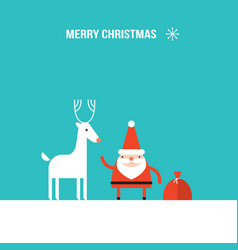 cute santa claus and christmas deer modern flat vector image