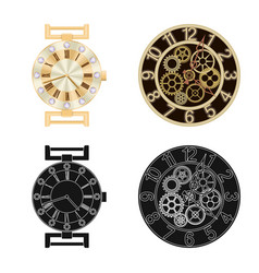 Design of clock and time logo collection vector